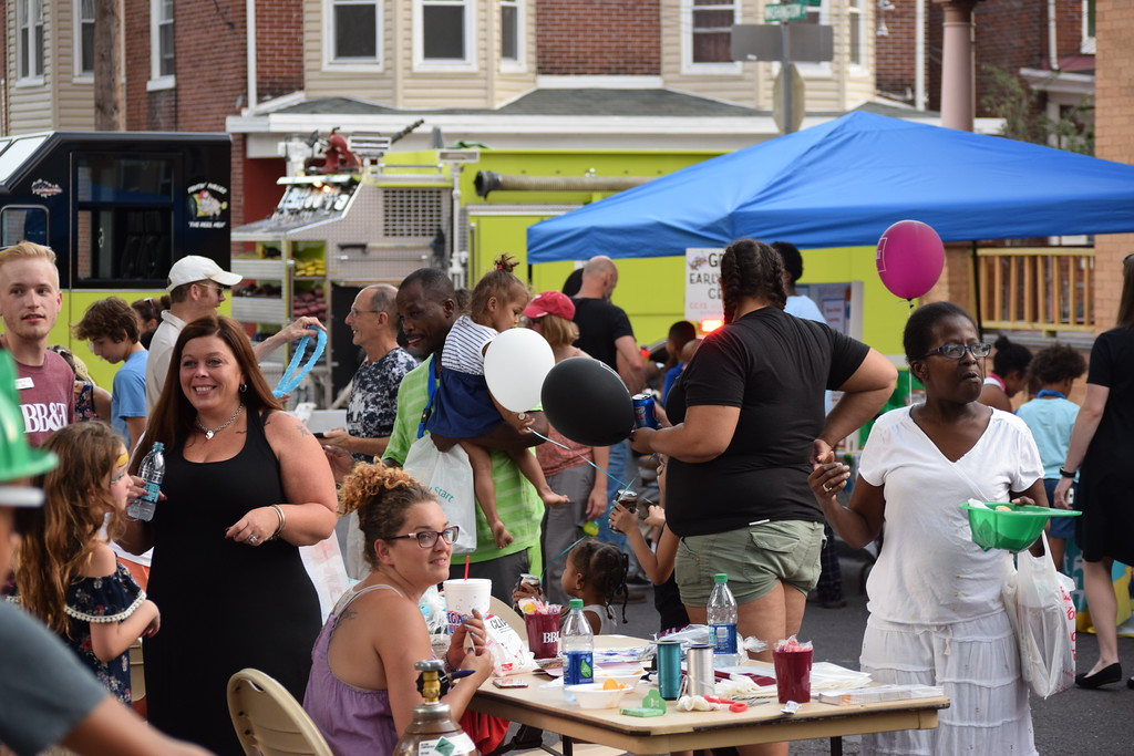 . Washington and Chestnut streets in Pottstown were packed with people who showed up to enjoy food, games and more during the National Night Out event.  Marian Dennis -- Digital First Media