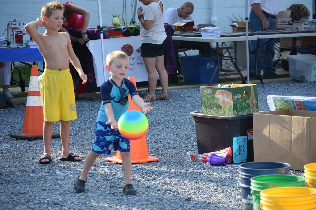 . Kids had fun playing games Tuesday night during the first ever Amity Township National Night Out event. Hundreds showed up for the inaugural event that�s aimed at building community relationships. Marian Dennis-- Digital First Media