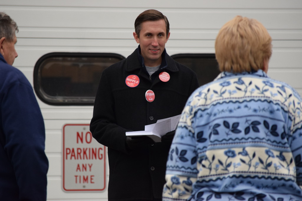 . Marian Dennis - Digital First Media Party workers offered voters leaflettes and sample ballots as they came into Norco Fire Company Tuesday to cast their votes.