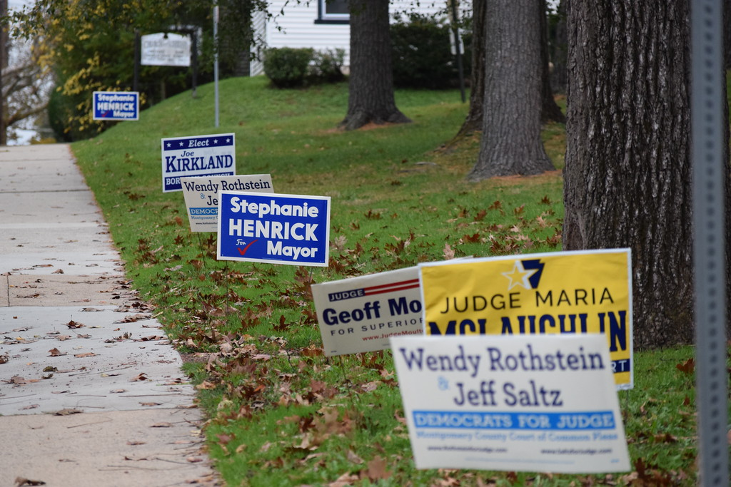. Marian Dennis - Digital First Media Election signs line Beech Street near the Olivet Boys and Girls Club on Tuesday Nov. 7.
