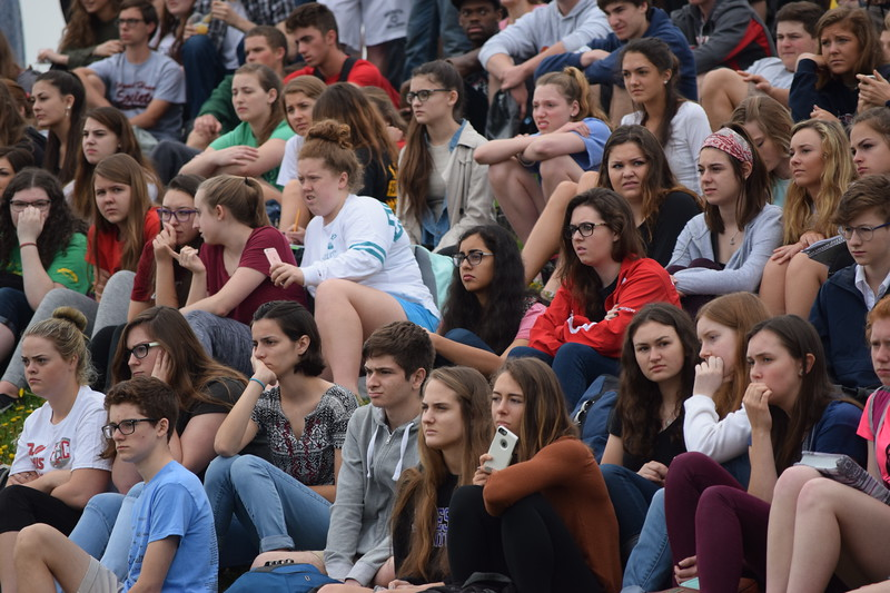 Students at Owen J. Roberts High School watch as their classmates and other actors create a mock crash that ends with the death of two students and the arrest of another. The presentation was aimed at showing the consequences of drinking and driving.<br /> Marian Dennis -- Digital First Media