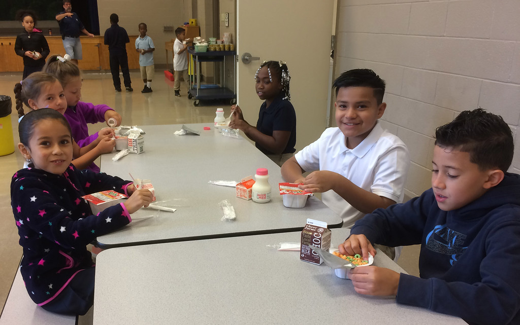 . A good breakfast, served every morning in the Lincoln Elementary School cafeteria, is the best way to start your school day. Evan Brandt --  Digital First Media.