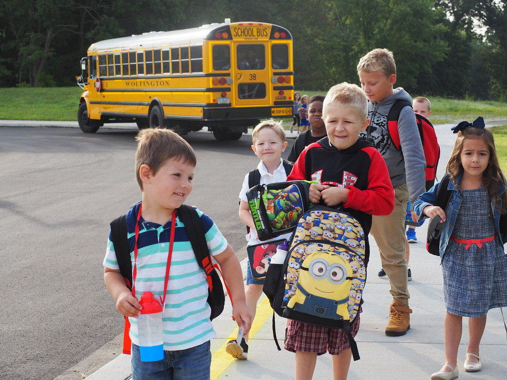 . Kindergarten and First Grade bus riders walking in to the new Early Learning Center in Phoenixville. Submitted photo