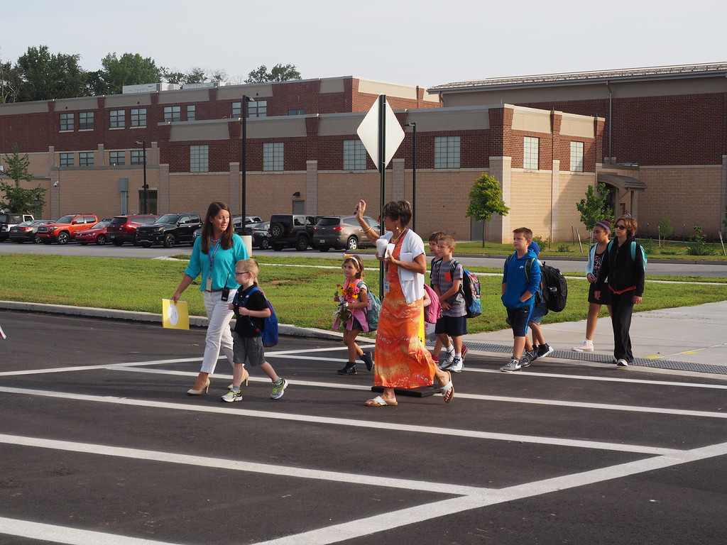 . Manavon Principal Mrs. Robyn Spear escorting some of our students who walk. Submitted photo