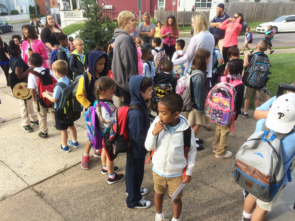 . The youngest students at Lincoln Elementary School line up at the front door, from the first day of school, to the last. Evan Brandt -- Digital First Media