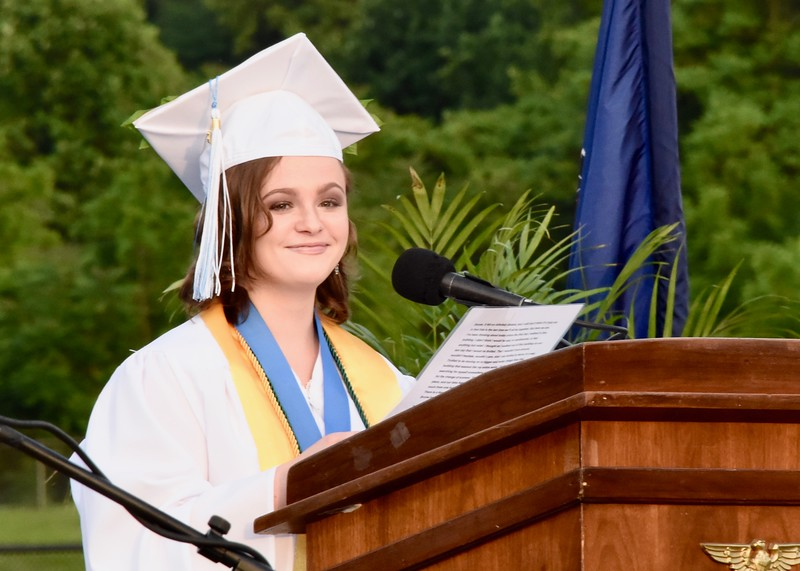 Jesi Yost — For Digital First Media<br /> Valedictorian Jordyn Markle addresses the class of 2018 at Daniel Boone High School.