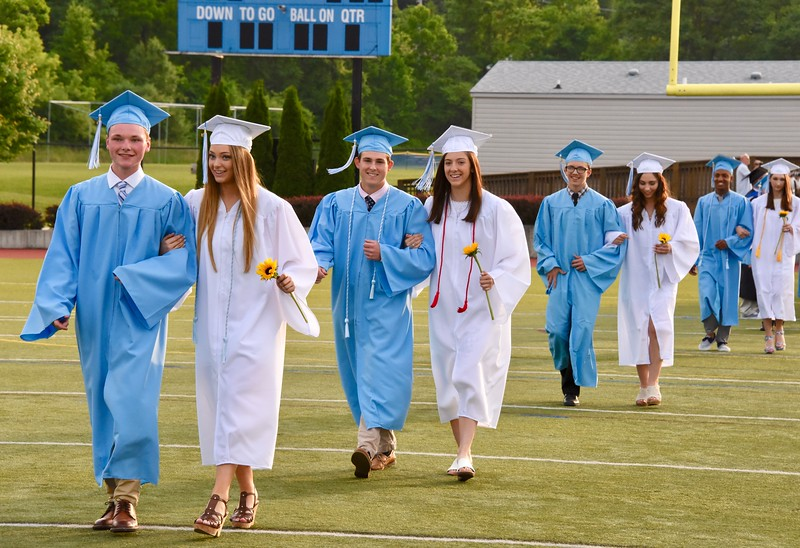Jesi Yost — For Digital First Media<br /> The Daniel Boone High School class of 2018 enters the stadium Friday evening for the start of commencement exercises.