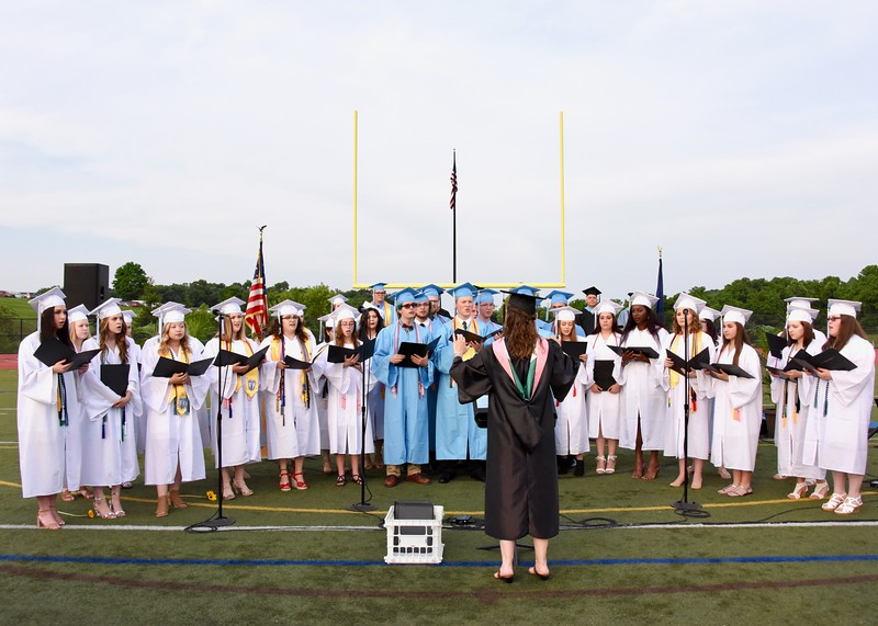 Jesi Yost — For Digital First Media<br /> The national anthem is performed by the Daniel Boone Area High School Choir graduating seniors at the start of Friday's ceremony.