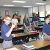 Students at St. Aloysius Parish School gave the thumbs on on the first day of classes in the new building.