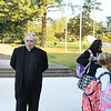 The Rev. Joseph Maloney, pastor of St. Aloysius Parish, welcomes students to the new home of St. Aloysius Parish School in Lower Pottsgrove.
