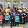 Eric Devlin — Digital First Media<br /> About 100 Montgomery County officials stood on the steps of the courthouse Thursday to stand in solidarity against the opioid epidemic that claimed the lives of 249 overdose victims in 2016.