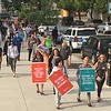 Eric Devlin — Digital First Media<br /> Marchers took to the sidewalk around the Montgomery County Courthouse in a showing of solidarity against the opioid epidemic Thursday.