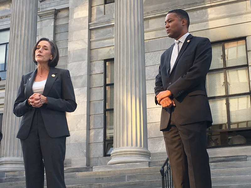Eric Devlin — Digital First Media<br /> Montgomery County Commissioners Val Arkoosh and Ken Lawrence stood on the steps of the courthouse in Norristown Thursday with about 100 others in solidarity against the opioid epidemic.