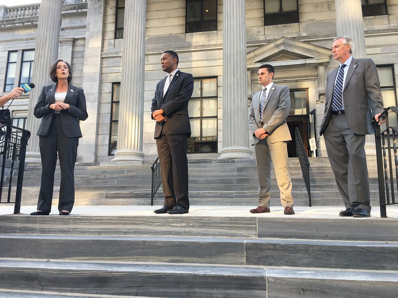 Eric Devlin — Digital First Media<br /> Montgomery County Commissioners Val Arkoosh, Ken Lawrence and Joe Gale stand with District Attorney Kevin R. Steele during an event on the steps of the Montgomery County Courthouse against the opioid epidemic in Montgomery County.