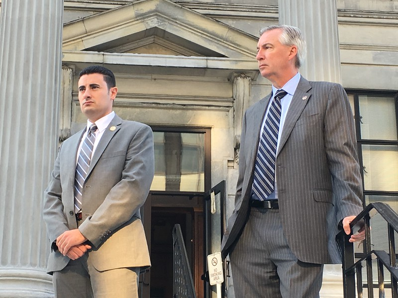 Eric Devlin — Digital First Media<br /> Montgomery County Commissioner Joe Gale and District Attorney Kevin R. Steele stood on the steps of the courthouse in Norristown Thursday with about 100 others in solidarity against the opioid epidemic that claimed the lives of 249 overdose victims in 2016.