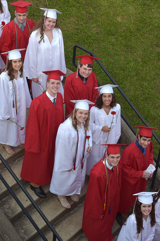 . PETE  BANNAN-DIGITAL FIRST MEDIA           Owen J. Roberts seniors make their way into graduation  which was held on in the school stadium Friday evening.