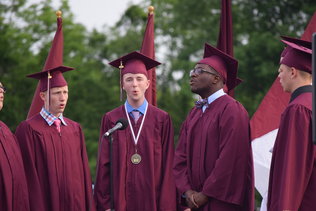 . Marian Dennis � Digital First Media A vocal septet performed Billy Joel�s �And So It Goes� Friday at Pottsgrove High School�s 62nd commencement.