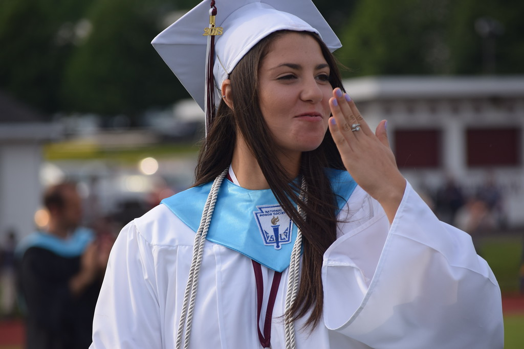 . Marian Dennis � Digital First Media Graduates waved, blew kisses and flashed smiles Friday as they walked onto the field at the commencement exercises for Pottsgrove High School�s class of 2018.