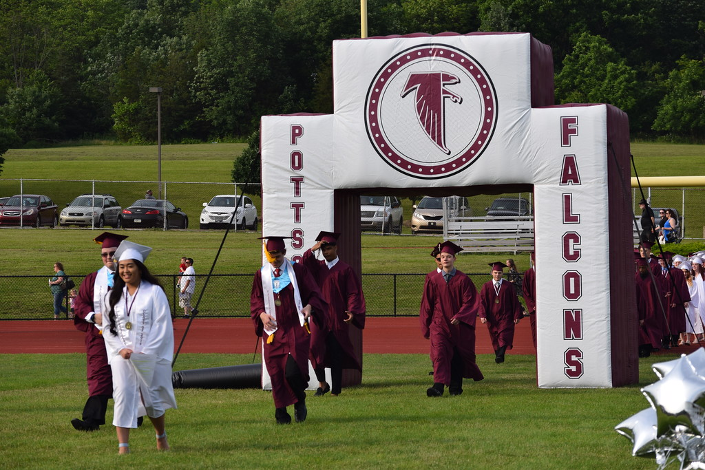 . Marian Dennis � Digital First Media Graduates of the class of 2018 at Pottsgrove High School made their way through an inflatable arch and on to their seats on the high school�s field.