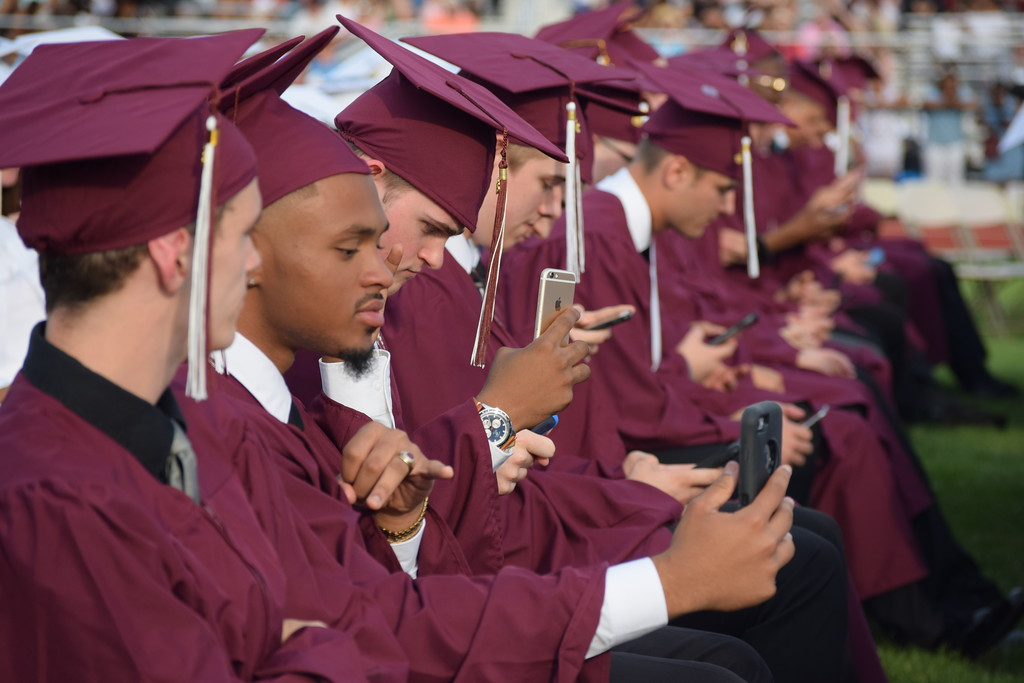 . Marian Dennis � Digital First Media Pottsgrove High School Principal William Ziegler encouraged all 252 graduates to take a quick selfie and it send it to the loved ones who supported them through their high school career.