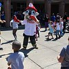 Michilea Patterson, Digital First Media<br /> Mascots dance alongside children to music during the combined PEAK Pottstown Celebrates Young Children and YMCA Healthy Kids Day event Saturday afternoon.