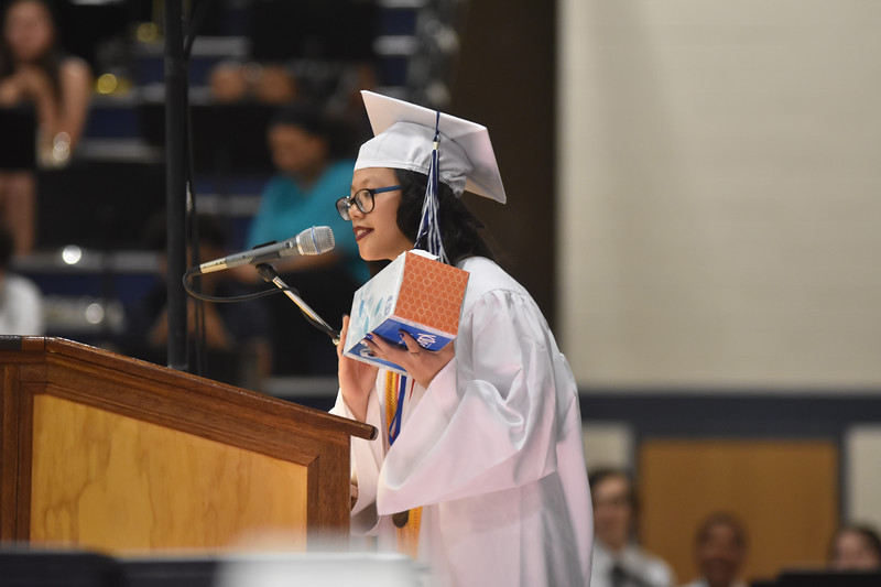 Barry Taglieber — For Digital First Media<br /> Pottstown Valedictorian Abigail Richter speaks to Pottstown High School's class of 2018 Friday evening.