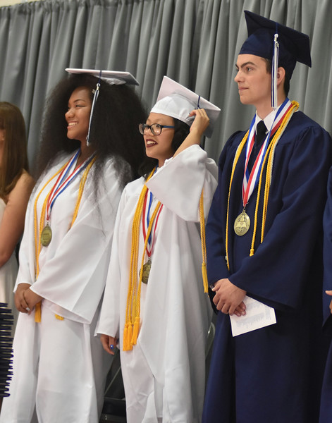 Barry Taglieber — For Digital First Media<br /> Zoe Wallace, Abigail Richter and Nicholas Wilson enjoy the special night during the 2018 commencement at Pottstown High School.