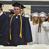 Barry Taglieber — For Digital First Media<br /> Soon-to-be graduates make their way into the gymnasium at Pottstown High School for the start of the school's 138th commencement on Friday evening.