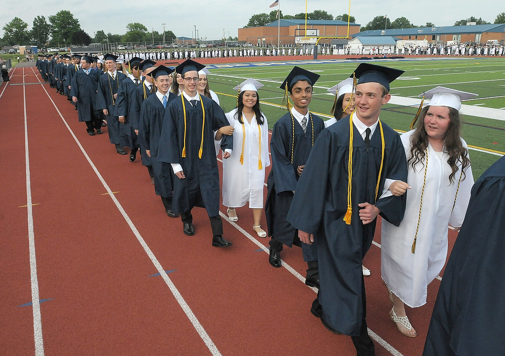 . Gene Walsh � Digital First Media Seniors process into Spring Ford�s stadium at graduation ceremonies June 13, 2018.