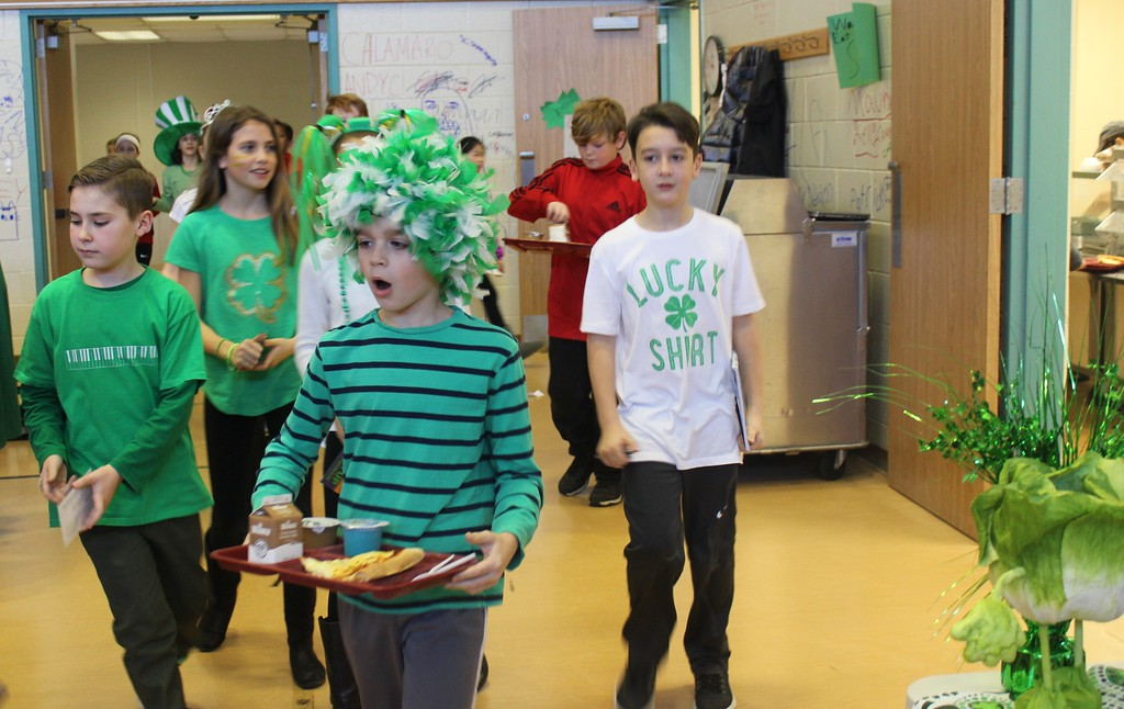. East Vincent Elementary students dress in green outfits in honor of St. Patrick\'s Day.