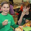 """East Vincent Elementary students found green and healthy spinach smoothies yummy. The school had a """"power up with spinach"""" campaign for St. Patrick's Day."""