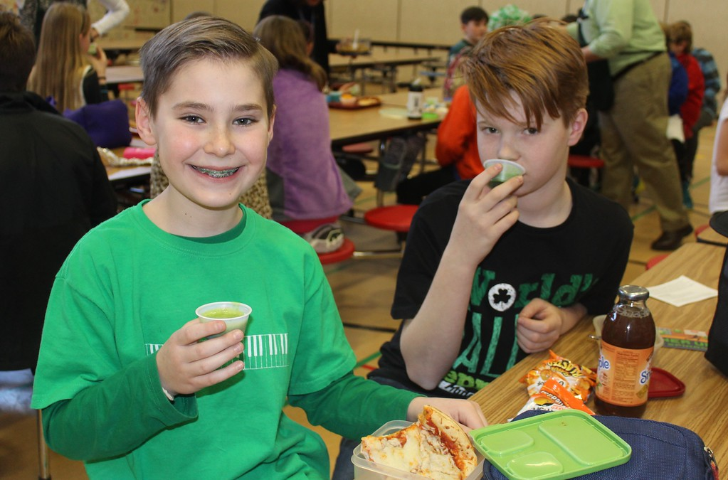 ". East Vincent Elementary students found green and healthy spinach smoothies yummy. The school had a ""power up with spinach\"" campaign for St. Patrick\'s Day."