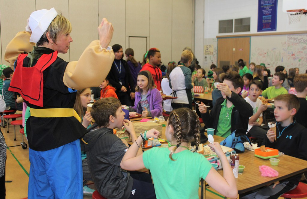 . Jo-an Rechtin, OJR wellness coordinator, wear a popeye costume to encourage East Vincent Elementary students to drink healthy spinach smoothies.
