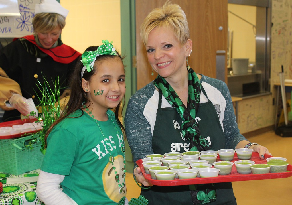 . Gianna Moffa, 10, smiles for the camera alongside her mom Caryn Moffa at East Vincent Elementary School.