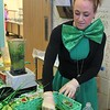 Heather Bonner, of Chartwells Food Service, makes healthy and green spinach smoothies for students at East Vincent Elementary School on St. Patrick's Day.