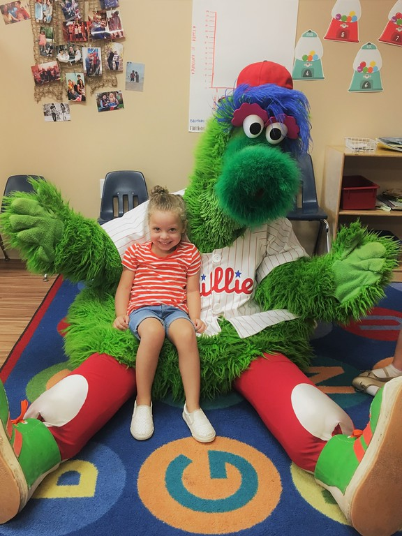 . SUBMITTED PHOTO The Phillie Phanatic put many smiles on children�s faces July 10.