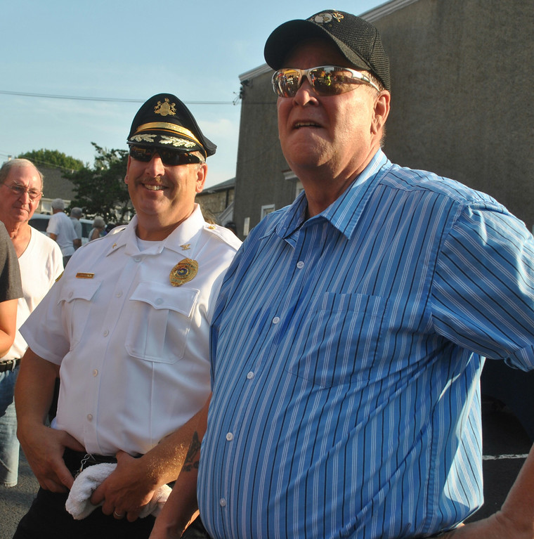 . Phoenixville Mayor Micheal Speck and Police Chief Thomas Sjostrom were on hand at National Night Out to greet residents. Photo by Barry Taglieber � For Digital First Media