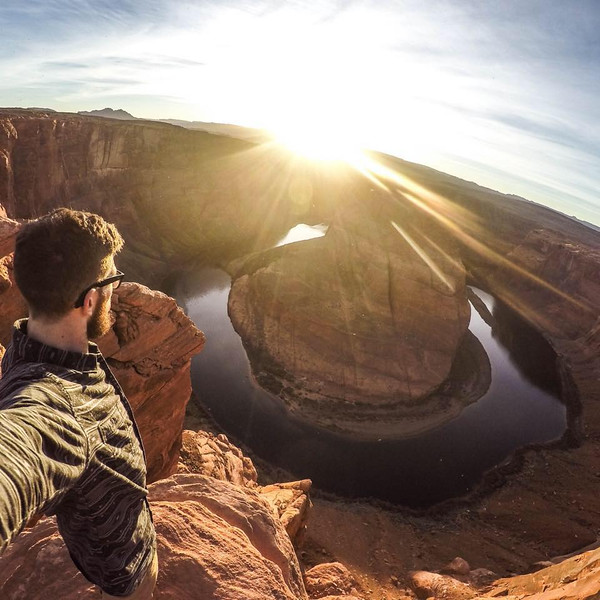 Trevor DeHaas takes a moment to include himself in a photo of one of the landscapes he visits. His trip across the U.S. began in February and he hopes to continue the lifestyle for at least the next six months. Photo Courtesy of Trevor DeHaas