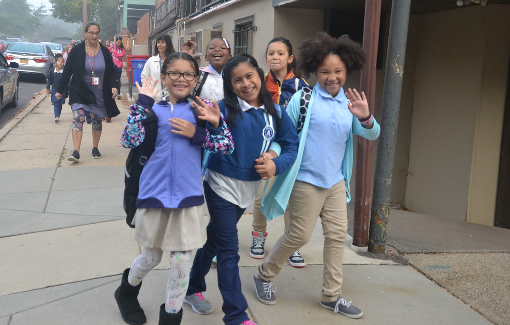 . Lincoln Elementary  School students found the corner of Second Street onto North York Street on their way to school Wednesday for National Walk to School Day.