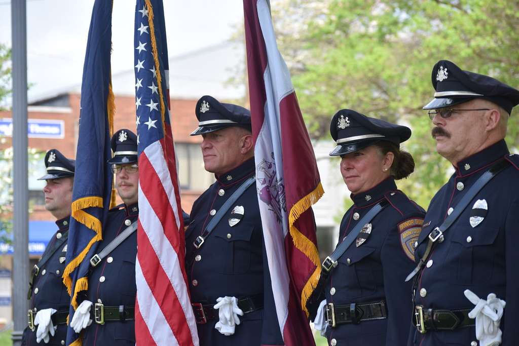 . Marian Dennis � Digital First Media Officers were asked to dress in full uniform for the Montgomery County Police Officer Memorial on Friday. Police and state troopers lined Main Street in Norristown and the area around the memorial as the ceremony was underway.