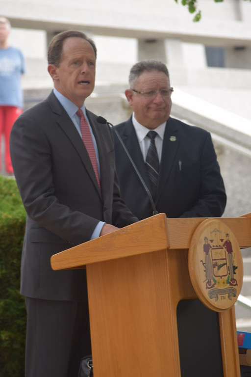 . Marian Dennis � Digital First Media Sen. Pat Toomey spoke to those in attendance Friday at the Montgomery County Police Memorial in Norristown.