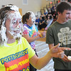 John Strickler - Digital First Media<br /> Pottsgrove High School's Jamie Reinhart has a face covered with pie during the school pep rally.