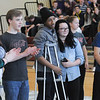 John Strickler - Digital First Media<br /> Pottsgrove High School cancer survivors Kristen Lawhorne, Jake Robinson, Shyire Washington, Natalie Cooper and Francis Gagliardi took part in the school's pep rally as they prepare for this year's mini-thon in May.