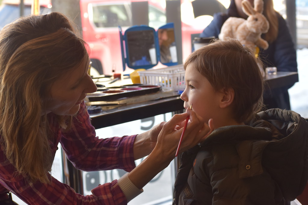 . Marian Dennis � Digital First Media Face painting was part of Pottstown�s egg hunt Saturday along East High Street. In between gathering eggs from area businesses, children could take a break and get their faces painted at Connections on High.