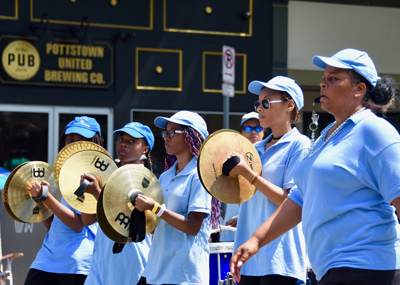 Jesi Yost — For Digital First Media<br /> The Allegheny East Conference Pathfinder Drum Corps cymbal line entertains at Pottstown's Fourth of July Parade.