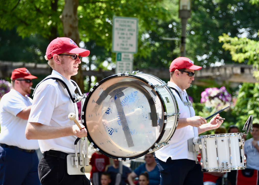 . Jesi Yost � For Digital First Media Members of the Boyertown Alumni Marching Band participate in the Pottstown Fourth of July Parade.