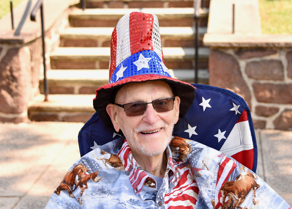 . Jesi Yost � For Digital First Media Dressed in red, white and blue, Dick Hatfield watches the Pottstown July 4th Parade.