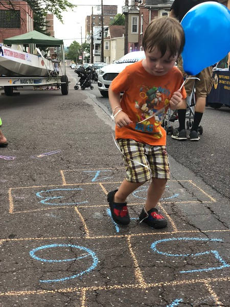 MONICA SAGER — DIGITAL FIRST MEDIA<br /> Malcom Haigh enjoys National Night Out in Pottstown.