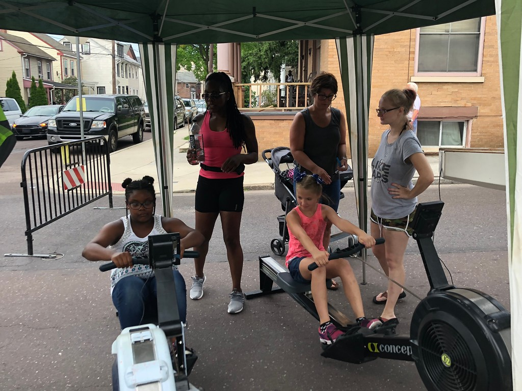 . MONICA SAGER � DIGITAL FIRST MEDIA Pottstown Dragon Warriors hosted a erging competition, pictured competing: Samera Cody and Allyson Rosa.