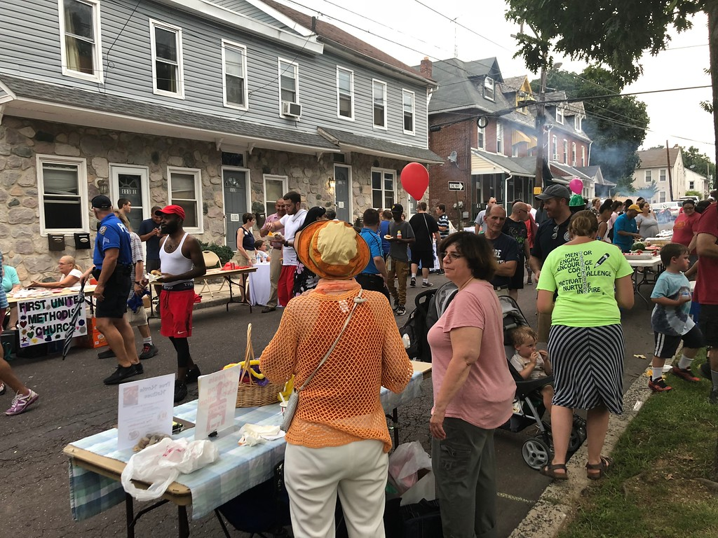 . MONICA SAGER � DIGITAL FIRST MEDIA Many residents came out for Pottstown�s community celebration of National Night Out on Tuesday.